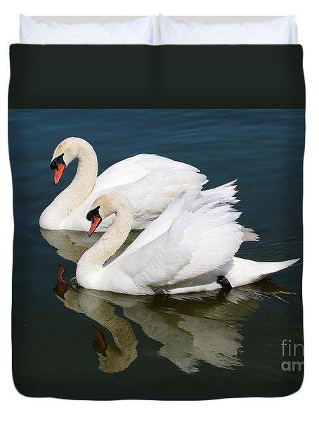 Pretty Swan Pair Duvet Cover by Carol Groenen