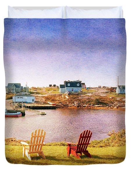 Primary Chairs - Digital Art Duvet Cover by Renee Sullivan