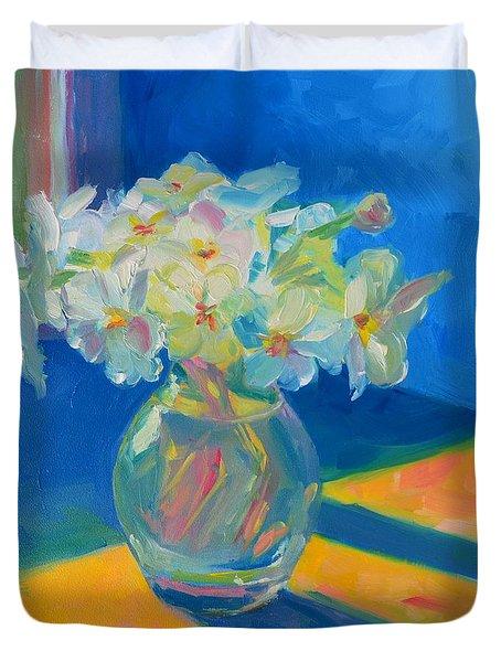 Primroses in Spring Light - Still Life Duvet Cover by Patricia Awapara