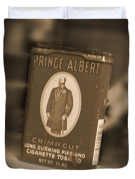 Prince Albert In A Can Duvet Cover by Mike McGlothlen