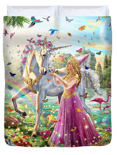 Princess And The Unicorn Duvet Cover by Adrian Chesterman