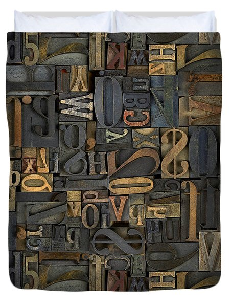 Printing Letters 1 Duvet Cover by Bedros Awak