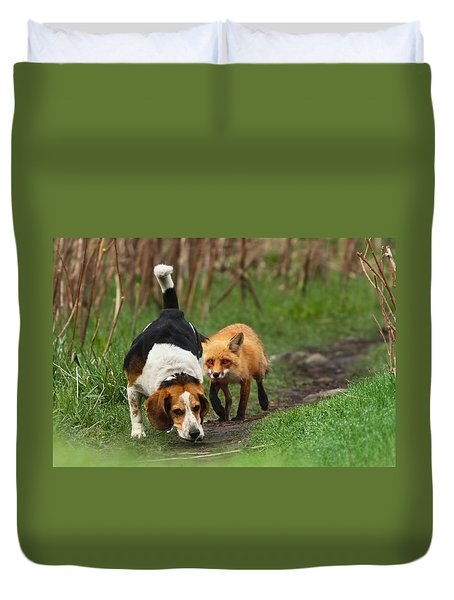Probably The World's Worst Hunting Dog Duvet Cover by Mircea Costina Photography