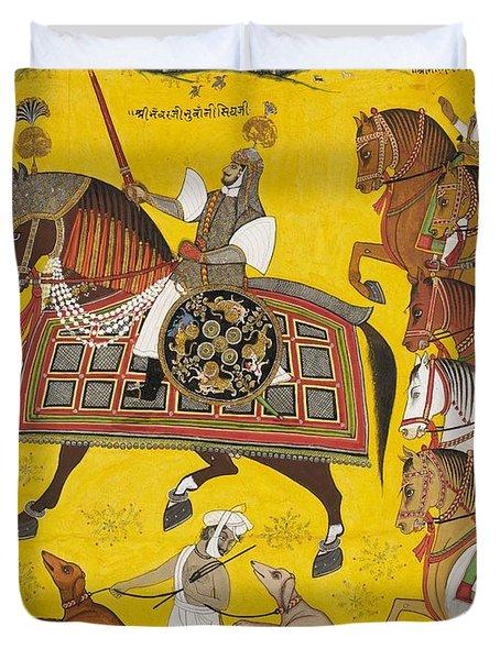 Processional Portrait Of Prince Bhawani Sing Of Sitamau Duvet Cover by Pyara Singh