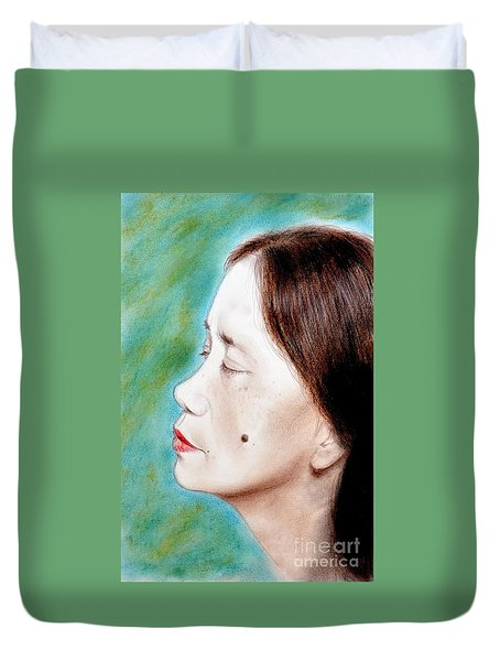 Profile Of A Filipina Beauty With A Mole On Her Cheek  Duvet Cover by Jim Fitzpatrick