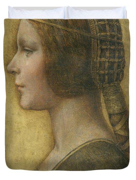 Profile Of A Young Fiancee Duvet Cover by Leonardo Da Vinci