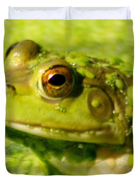 Profiling Frog Duvet Cover by Optical Playground By MP Ray
