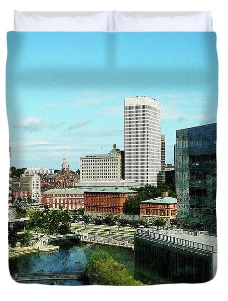 Providence Ri Skyline Duvet Cover by Susan Savad