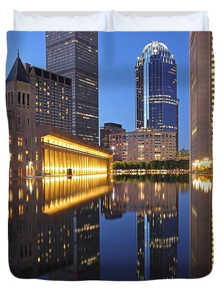 Prudential Center At Night Duvet Cover by Juergen Roth