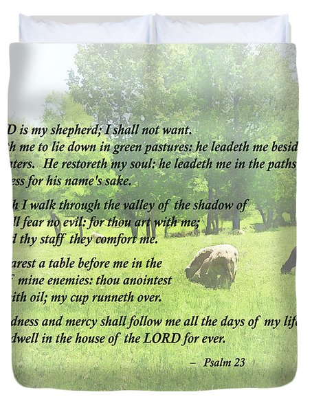 Psalm 23 The Lord Is My Shepherd Duvet Cover by Susan Savad