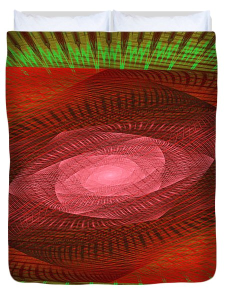 Psychedelic Spiral Vortex Green And Red Fractal Flame Duvet Cover by Keith Webber Jr