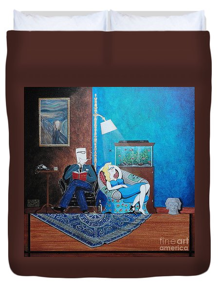 Psychiatrist Sitting In Chair Studying Spider's Reaction Duvet Cover by John Lyes
