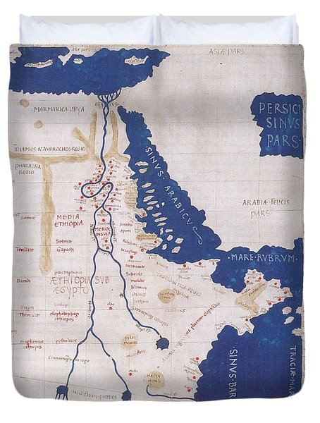 Ptolemys Map Of The Nile 2nd Century Duvet Cover by Photo Researchers