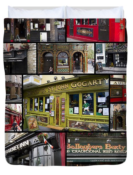 Pubs Of Dublin Duvet Cover by David Smith