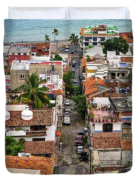 Puerto Vallarta Street Duvet Cover by Elena Elisseeva