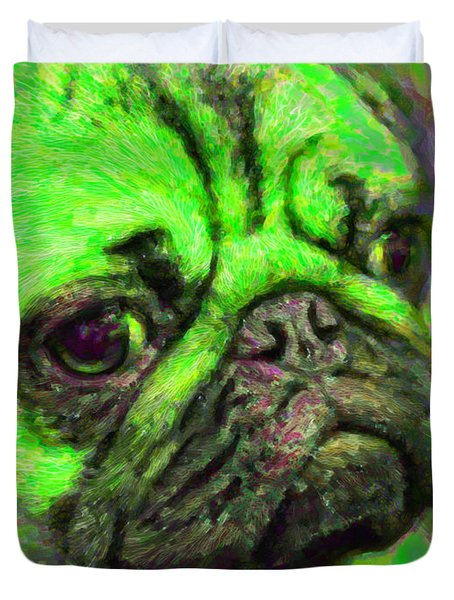Pug 20130126v4 Duvet Cover by Wingsdomain Art and Photography