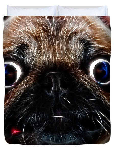 Pug Dog - Electric Duvet Cover by Wingsdomain Art and Photography