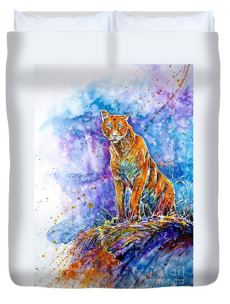 Puma. Listening To The Sounds Of The Mountains.  Duvet Cover by Zaira Dzhaubaeva