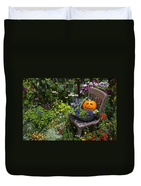 Pumpkin In Basket On Chair Duvet Cover by Garry Gay