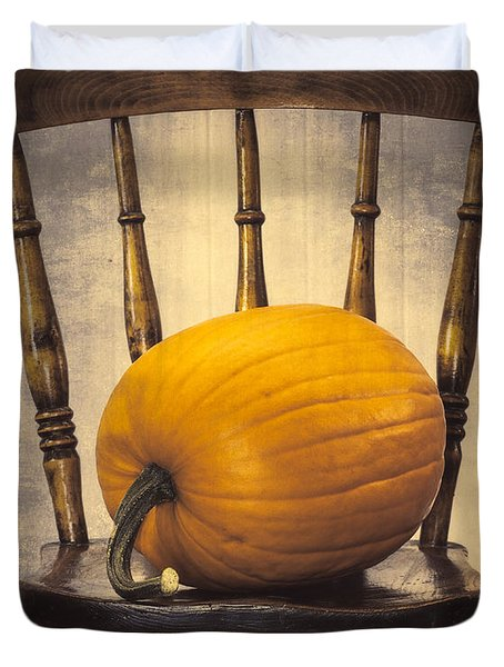 Pumpkin On Chair Duvet Cover by Amanda And Christopher Elwell
