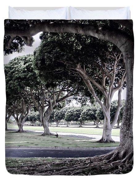 Punchbowl Cemetery - Hawaii Duvet Cover by Daniel Hagerman