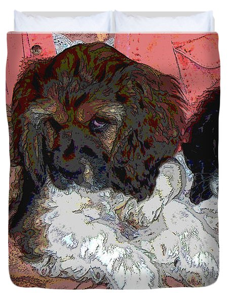Puppy Love  Sugar         Little Bear And Peanut Duvet Cover by Debbie Portwood