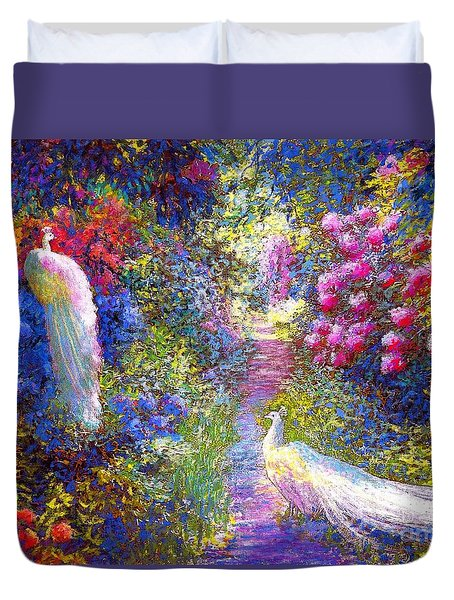 White Peacocks, Pure Bliss Duvet Cover by Jane Small