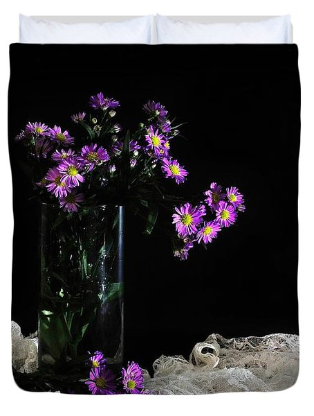 Purple and Lace Duvet Cover by Diana Angstadt