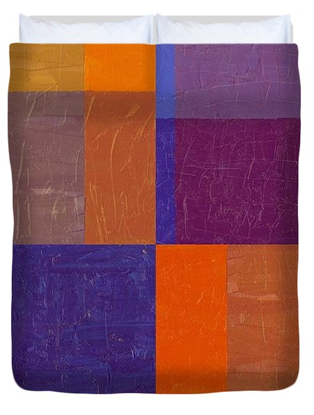 Purple And Orange Get Married Duvet Cover by Michelle Calkins