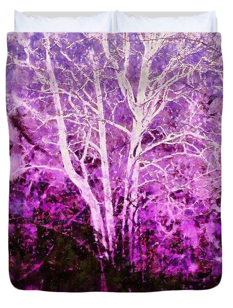 Purple Forest Fantasy Duvet Cover by Janine Riley