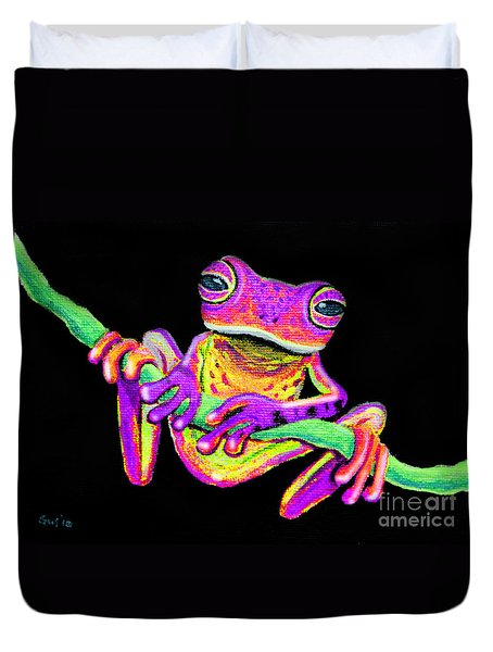 Purple Frog On A Vine Duvet Cover by Nick Gustafson