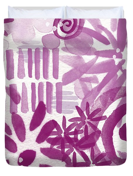 Purple Garden - Contemporary Abstract Watercolor Painting Duvet Cover by Linda Woods