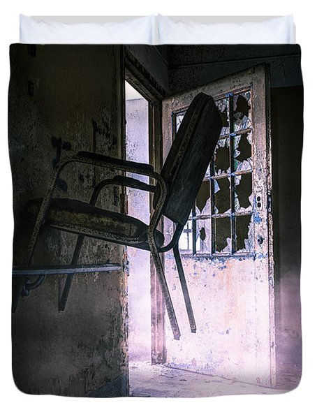 Purple Haze - Strange scene in an abandoned psychiatric facility Duvet Cover by Gary Heller