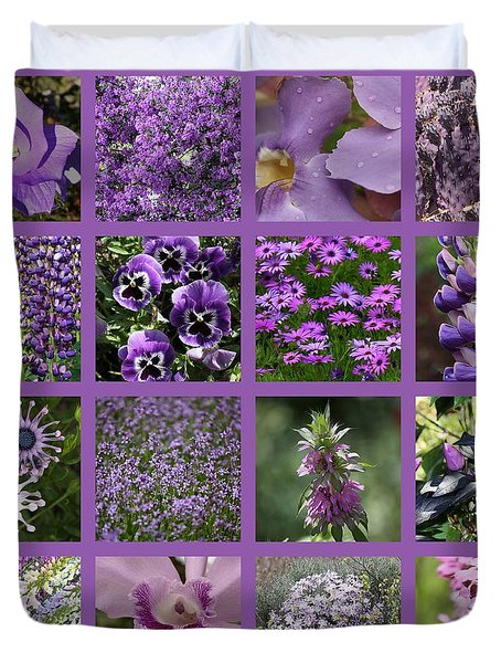 Purple In Nature Collage Duvet Cover by Carol Groenen