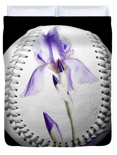 Purple Iris High Key Baseball Square Duvet Cover by Andee Design