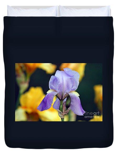 Purple Iris Duvet Cover by Karen Adams