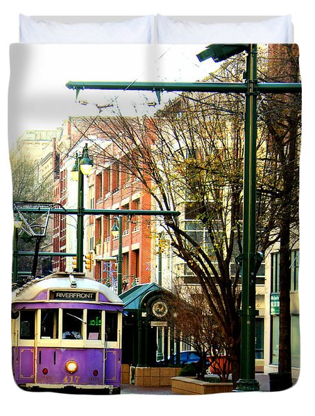 Purple Trolley Duvet Cover by Barbara Chichester