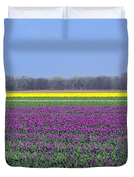 Purple With Golden Lining. Fields Of Tulips Series Duvet Cover by Ausra Paulauskaite