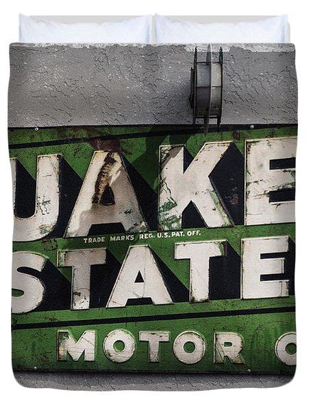Quaker State Motor Oil Duvet Cover by Janice Rae Pariza