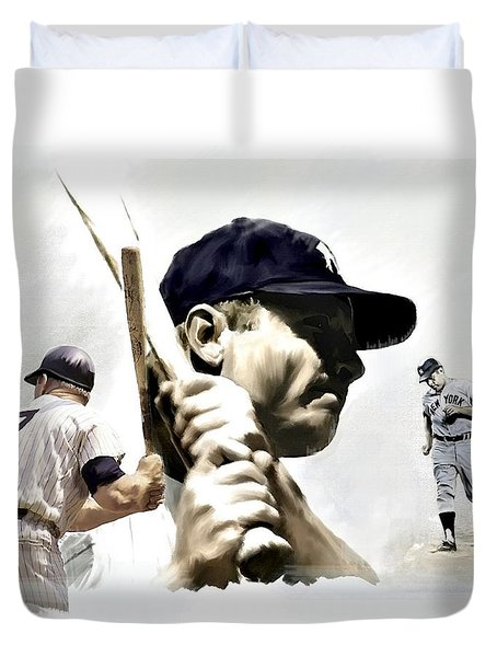Quality Of Greatness Mickey Mantle Duvet Cover by Iconic Images Art Gallery David Pucciarelli