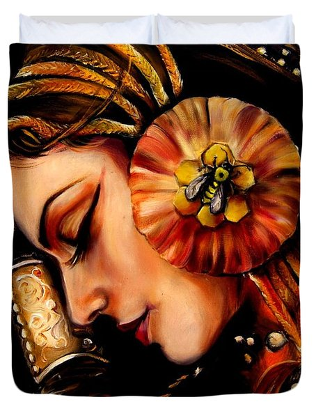 Queen Bee Duvet Cover by Em Kotoul