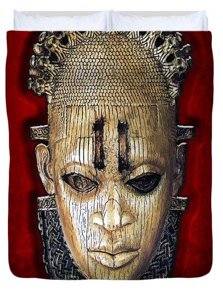 Queen Mother Idia - Ivory Hip Pendant Mask - Nigeria - Edo Peoples - Court of Benin on Red Velvet Duvet Cover by Serge Averbukh