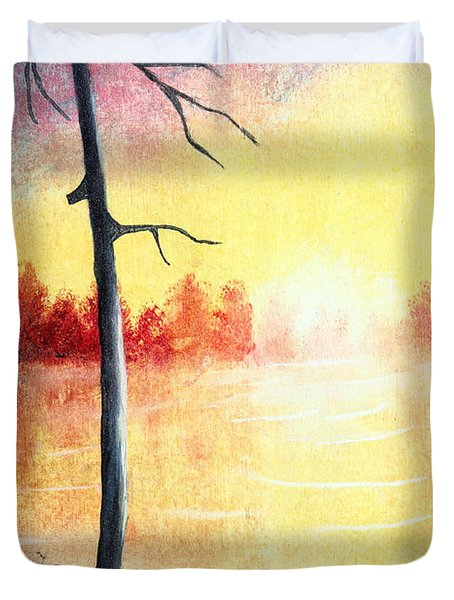 Quiet Evening By The River Duvet Cover by Nirdesha Munasinghe