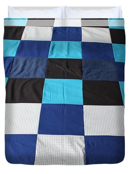 Quilt Blue Blocks Duvet Cover by Barbara Griffin
