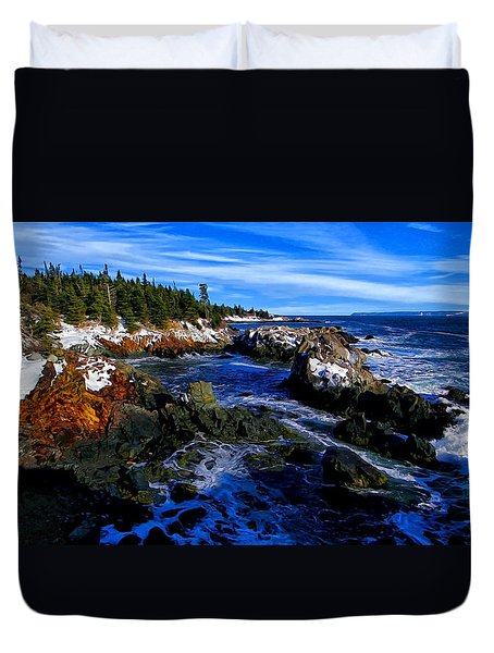 Quoddy Coast with Snow Duvet Cover by Bill Caldwell -        ABeautifulSky Photography