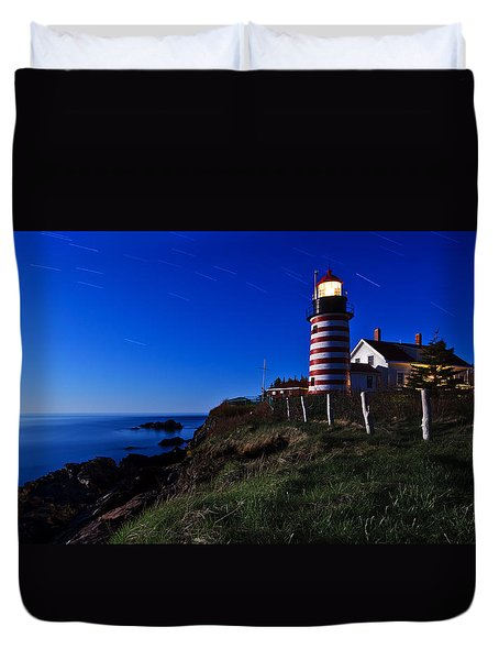 Quoddy Head by Moonlight Panorama Duvet Cover by Bill Caldwell -        ABeautifulSky Photography