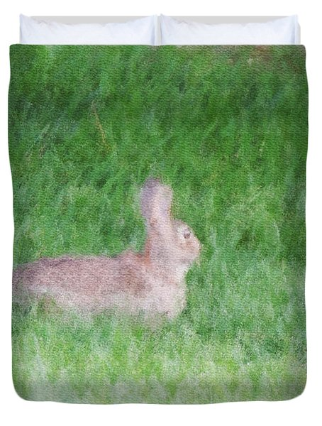 Rabbit In The Grass Duvet Cover by Michael Stowers