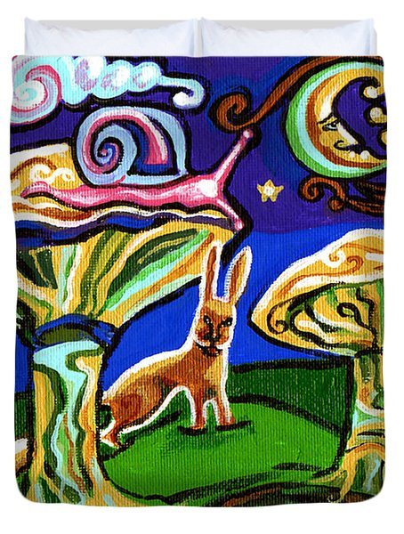 Rabbits At Night Duvet Cover by Genevieve Esson