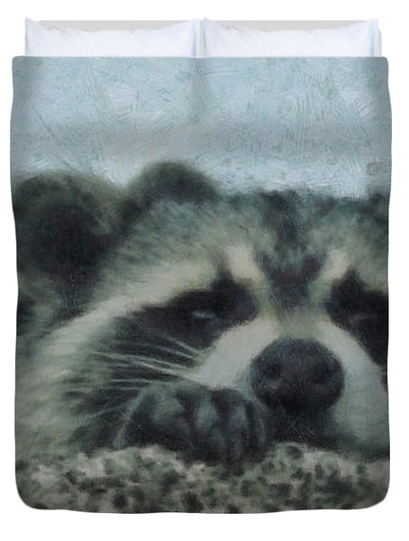Raccoons Painterly Duvet Cover by Ernie Echols