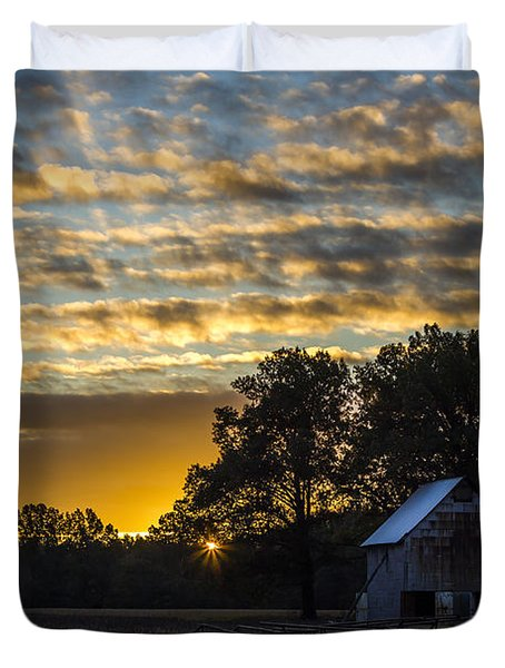 Radiating Sunrise Duvet Cover by Amber Kresge